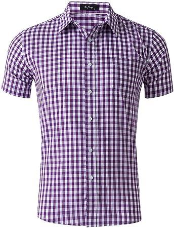 Camisa de los hombres Camisa de manga corta para hombre con patrón de tela escocesa Camisas