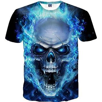 449c4664aff06 LuckyGirls Camisetas Hombre 3D Originales Estampado de Cráneo Manga Corta  Verano Moda Musculoso Polos Diseño Personalidad Casual Remera Camisas  Tallas ...