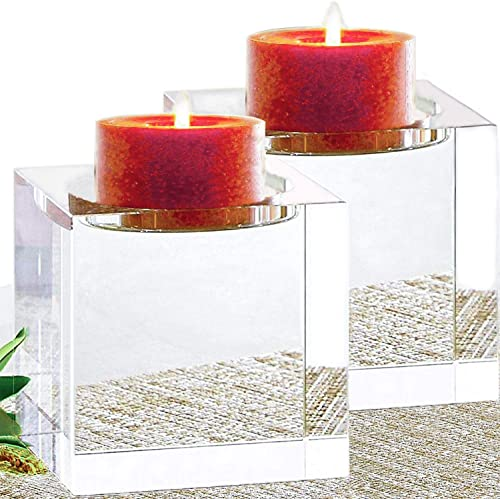 Le Sens Amazing Home Huge Crystal Pillar Candle Holders 4″ 4″ 4″ Set of 2,Decorative Home Decor LED Candles Stand,Prepackaged Elegant Heavy Solid Square Centerpiece