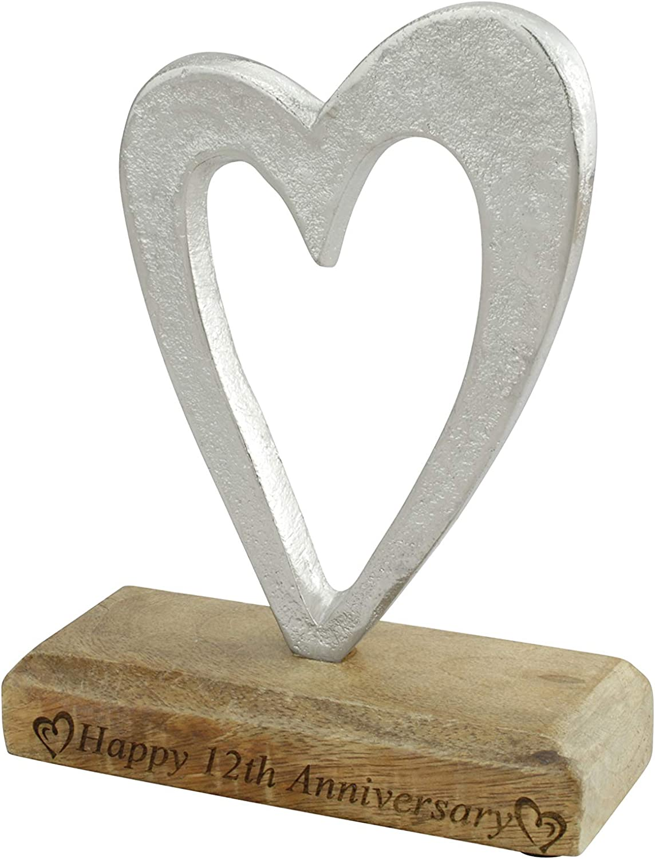 12th Anniversary Rustic Metal Heart Decoration – Free Standing Aluminium & Wooden Decoration (hssanni-12)