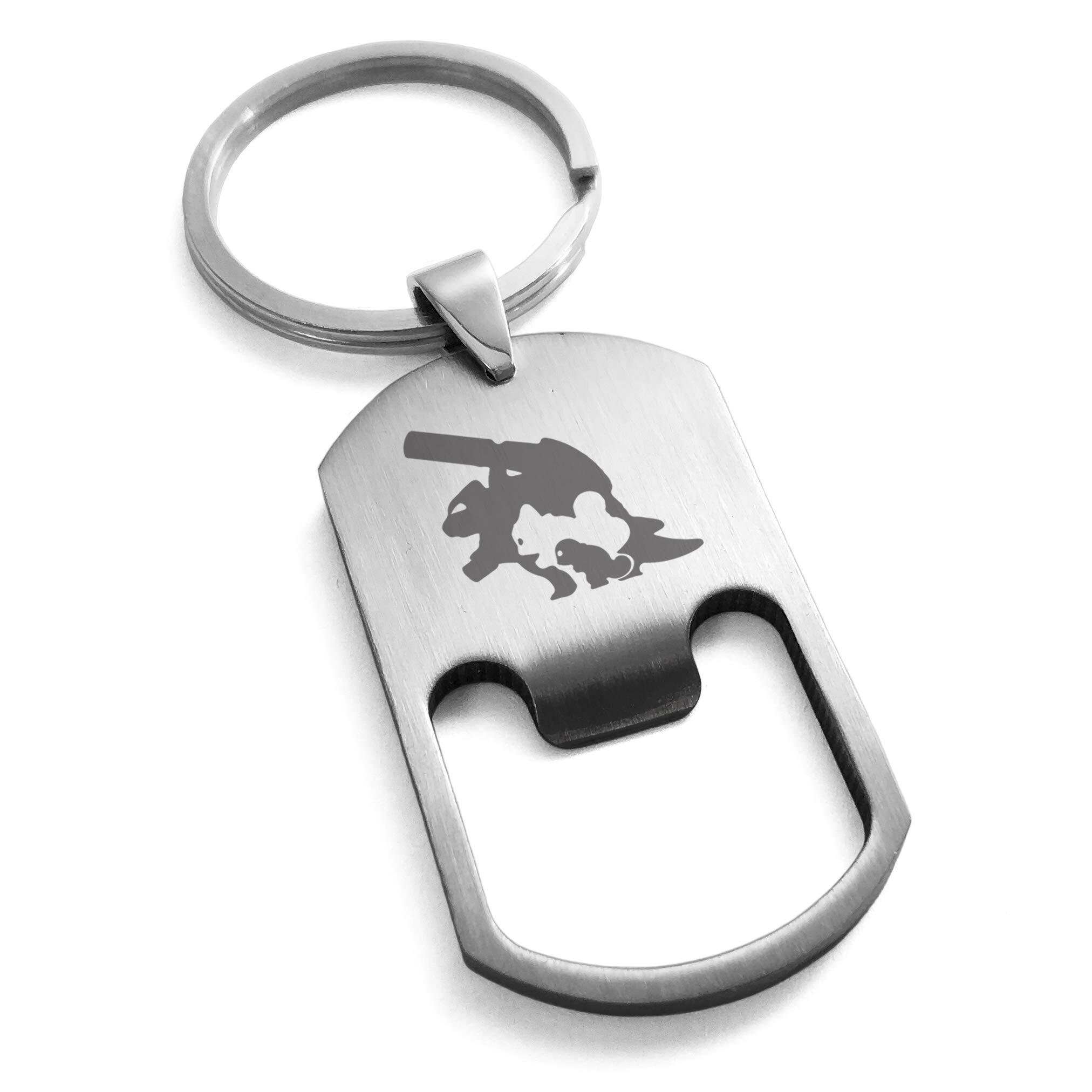 Tioneer Stainless Steel 1st Gen Squirtle Wartortle Blastoise Pokemon Engraved Bottle Opener Dog Tag Keychain Keyring
