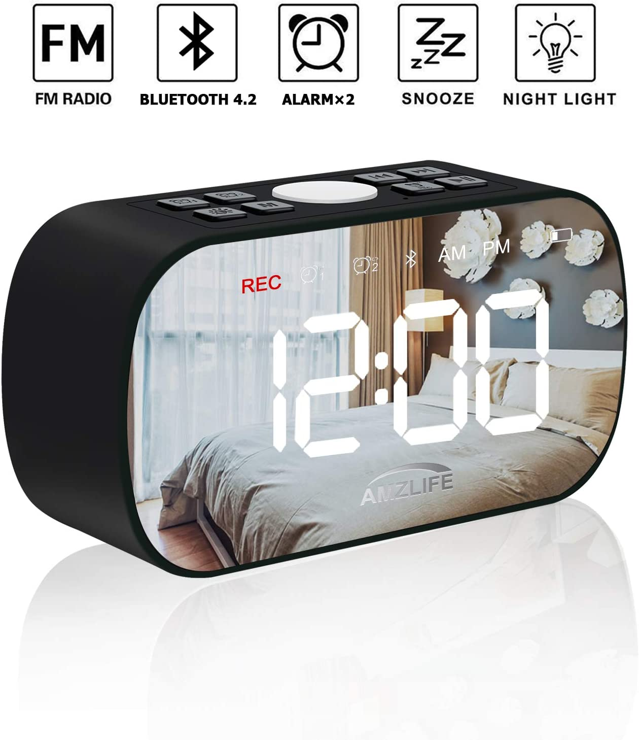 AMZLIFE Alarm Clock Radio with Wireless Bluetooth Speaker FM Radio