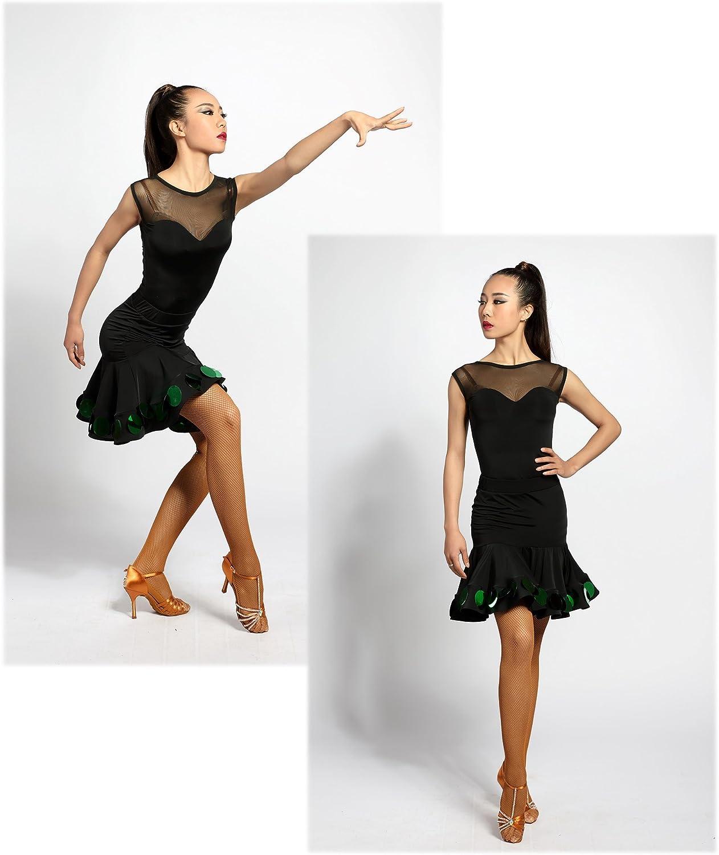 SCGGINTTANZ G1006 Professionnel de Danse de Salon Latine Moderne Le Justaucorps de la Conception sans Manches et Maille