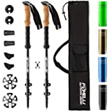 Foxelli Trekking Poles – 2-pc Pack Collapsible Lightweight Hiking Poles, Strong Aircraft Aluminum Adjustable Walking Sticks w