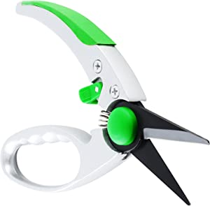 """WilFiks Garden Pruning Shears - 8"""" Classic Hand Pruner - Secateurs Steel Gardening Scissors with Comfortable Handle and Shock Absorbing Spring - Branch, Stem and Tree Trimmer Hand Tool"""