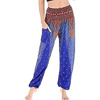 FEOYA Dames zomerbroek losse lichte harembroek boho bedrukte hippie broek dun elastisch hoge taille pompbroek