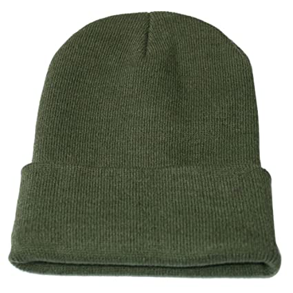 78707ce669e Beanie for Women and Men - by Unisex Cuffed Plain Skull Toboggan Knit Hat  and Cap (Army Green)  Arts