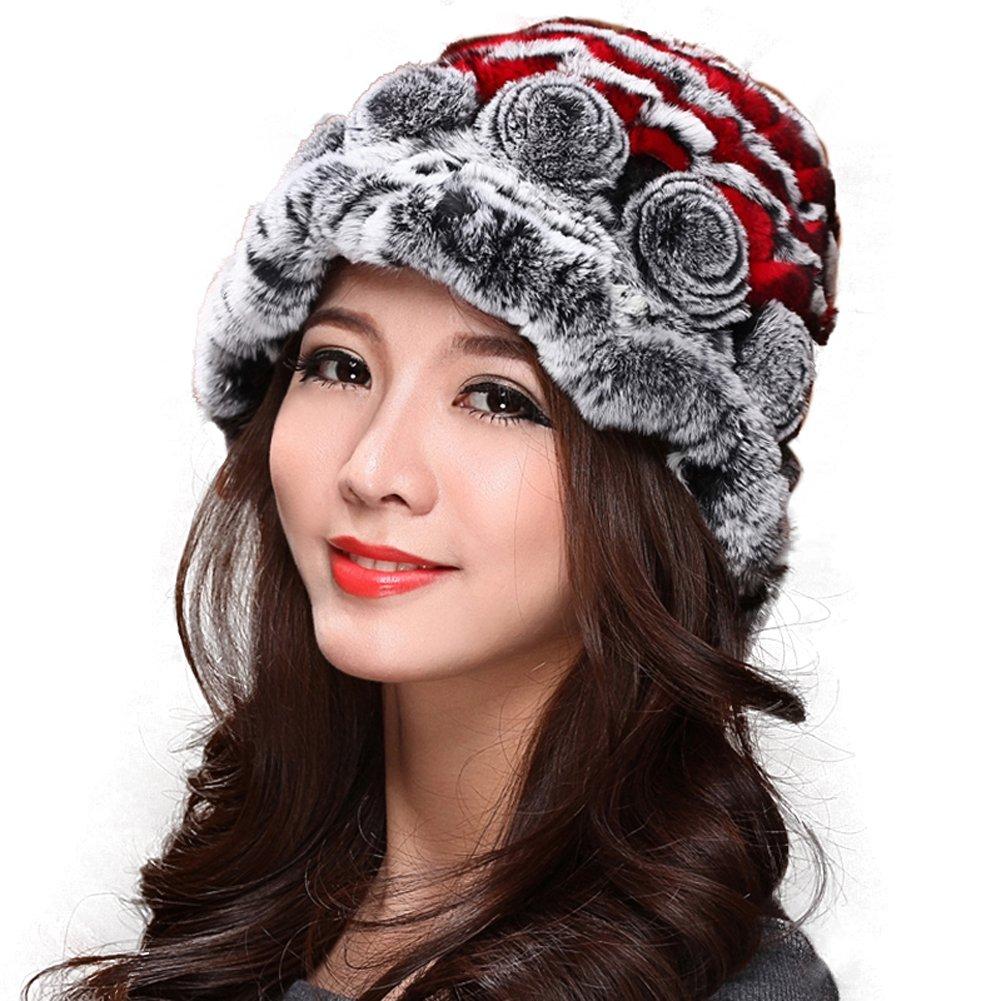 MINGXINTECH womens genuine rabbit fur hat with board edges newest winter cap