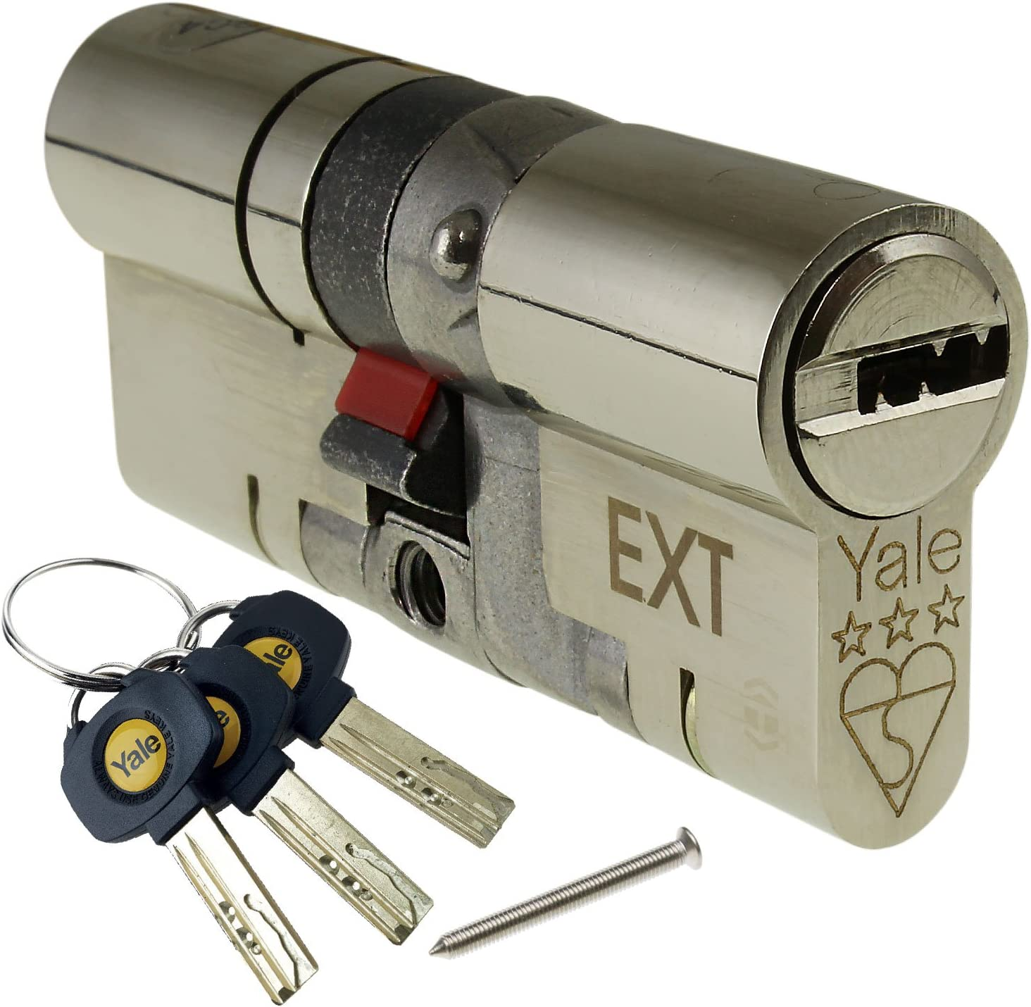 Nickel YALE Platinum 3 Star Euro Cylinder Anti Snap Bump High Security uPVC Door Barrel TS2007:2013 Lock 5 total 95mm 2 Extra Keys 50//45