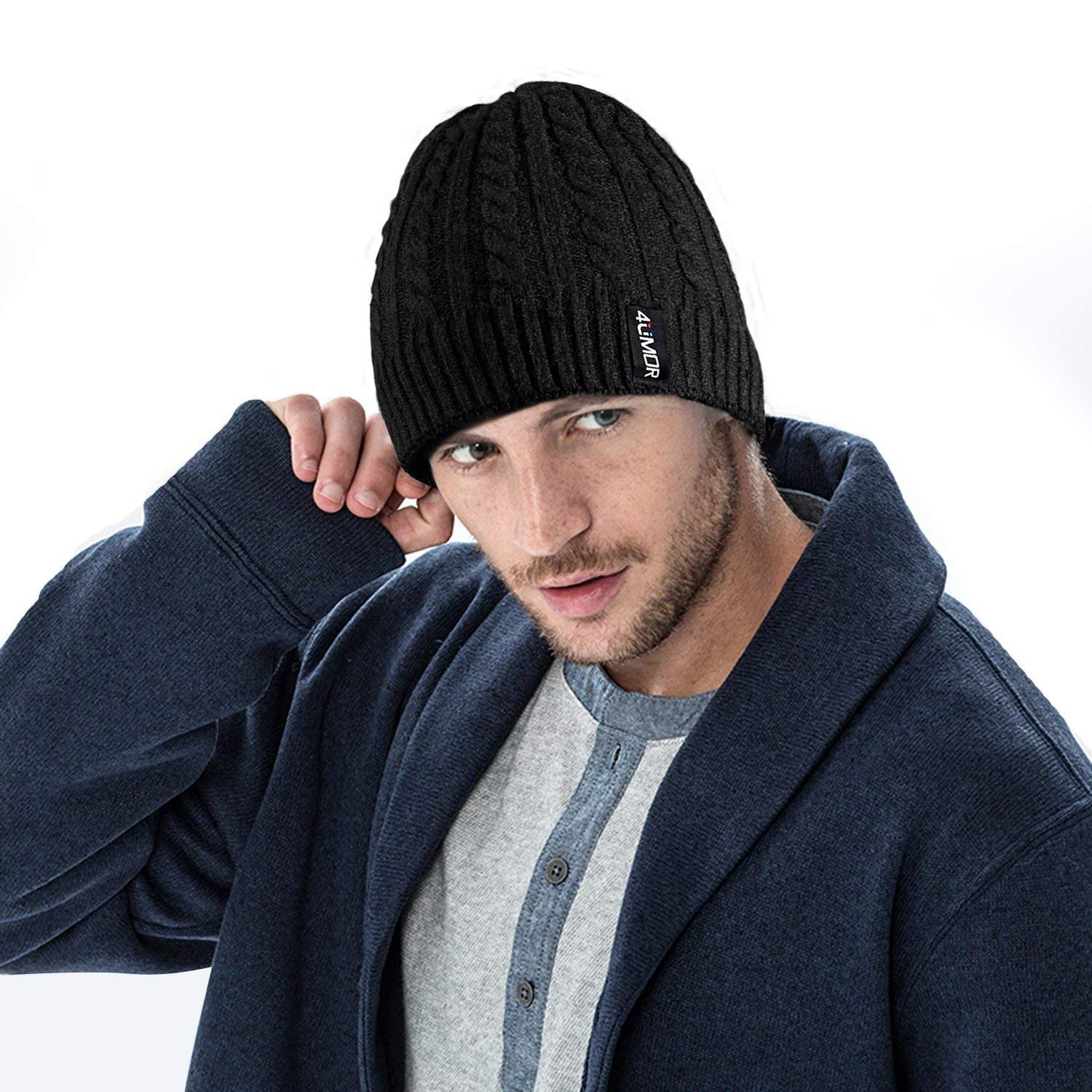 4UMOR Winter Beanie Hats for Men Women Warm Knit Hat Thick Soft Skull Cap  Black at Amazon Men s Clothing store  f1139d281f20