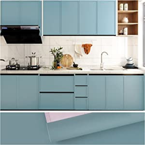 VEELIKE 15.7''x118'' Ocean Blue Wallpaper Peel and Stick Thickening Self Adhesive Blue Contact Paper Waterproof Decorative Vinyl Film for Walls Countertops Cabinets Shelf Drawer Liners Bedroom Kitchen