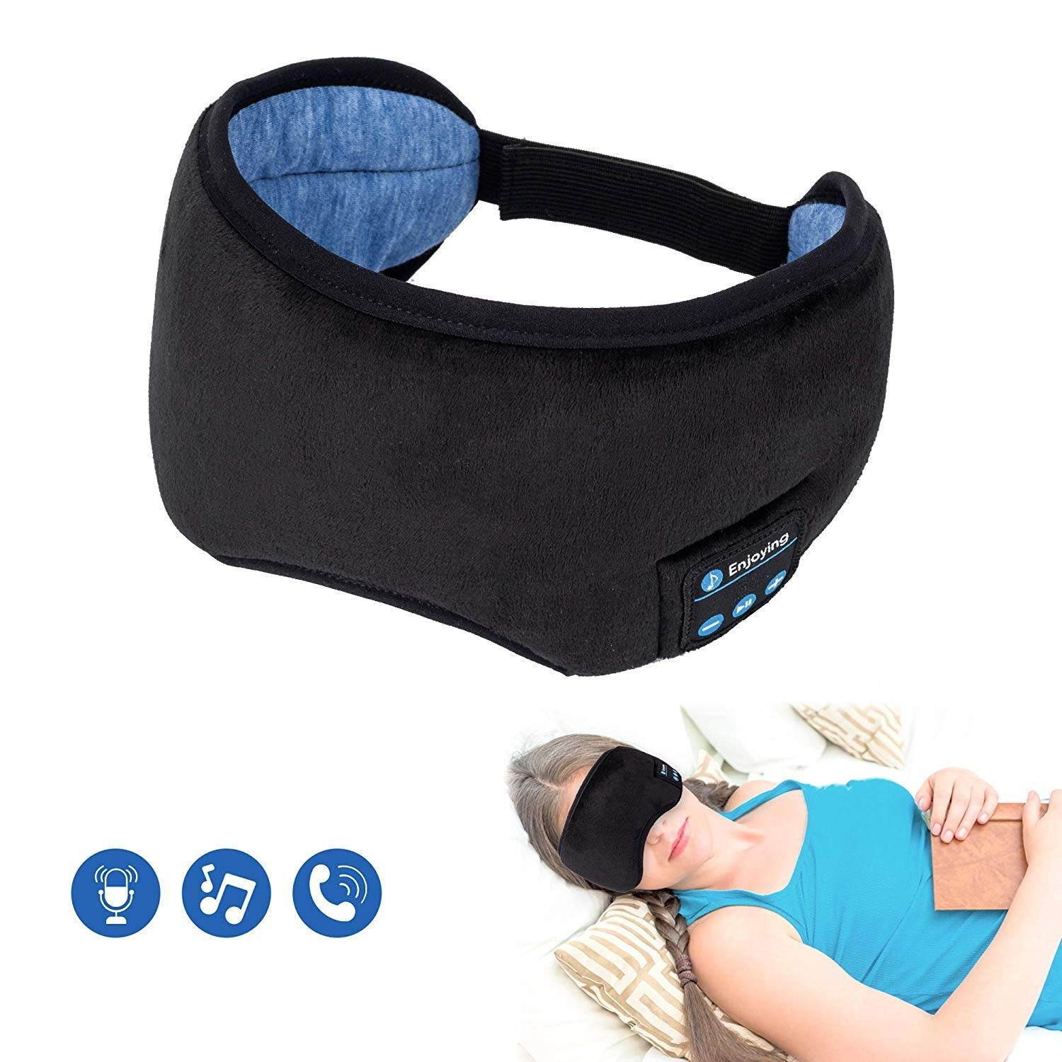 Voerou Sleep Eye Mask Wireless Sleep Headphones Music and Ultra Thin Speakers Perfect for Sleeping, Air Travel,Meditation and Relaxation – Black