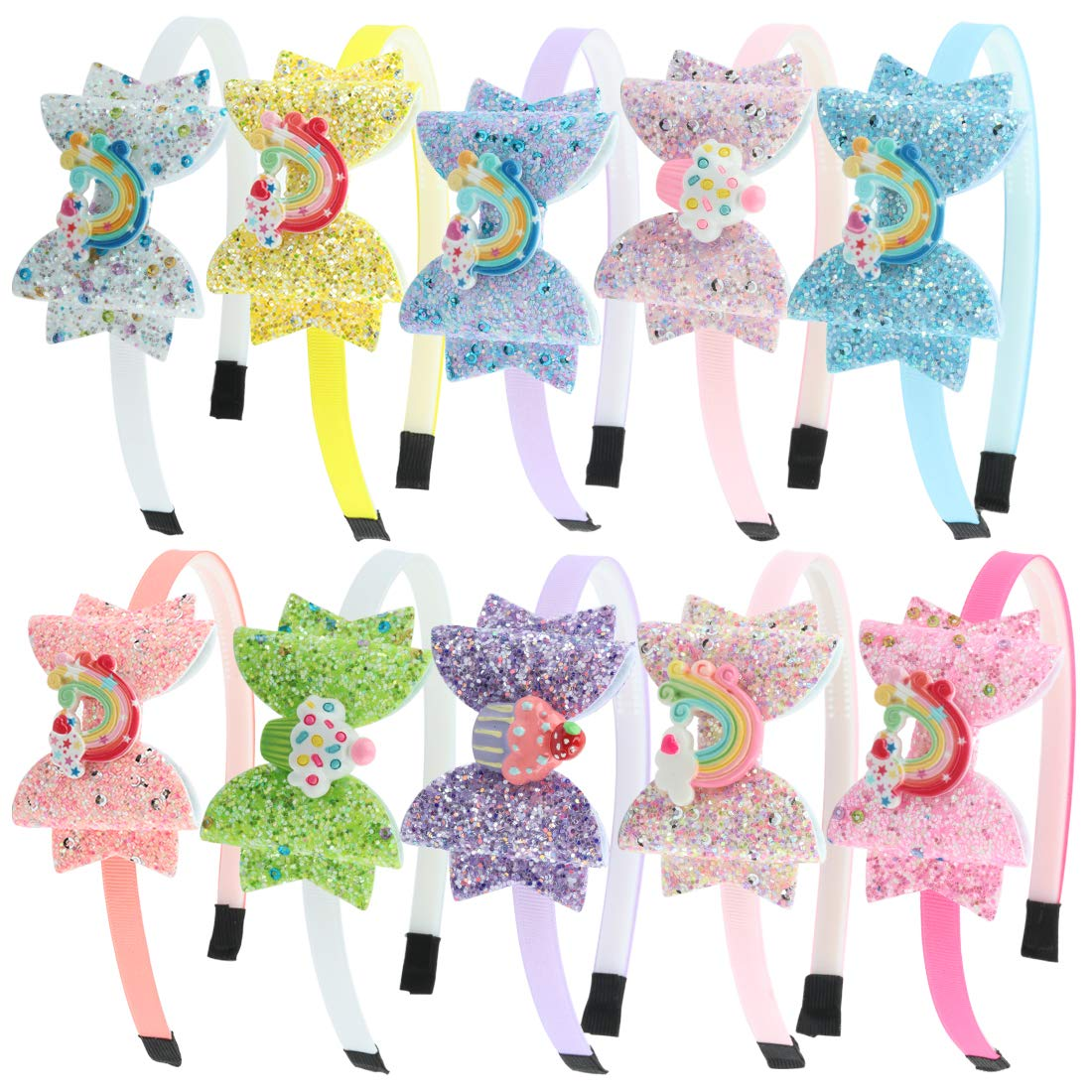 Glitter Bows Girls Hairbands Sequin Hair Bows Headband with Rainbow Ice Cream Hair Band for Teens Toddler Kids Children Accessories Pack of 10