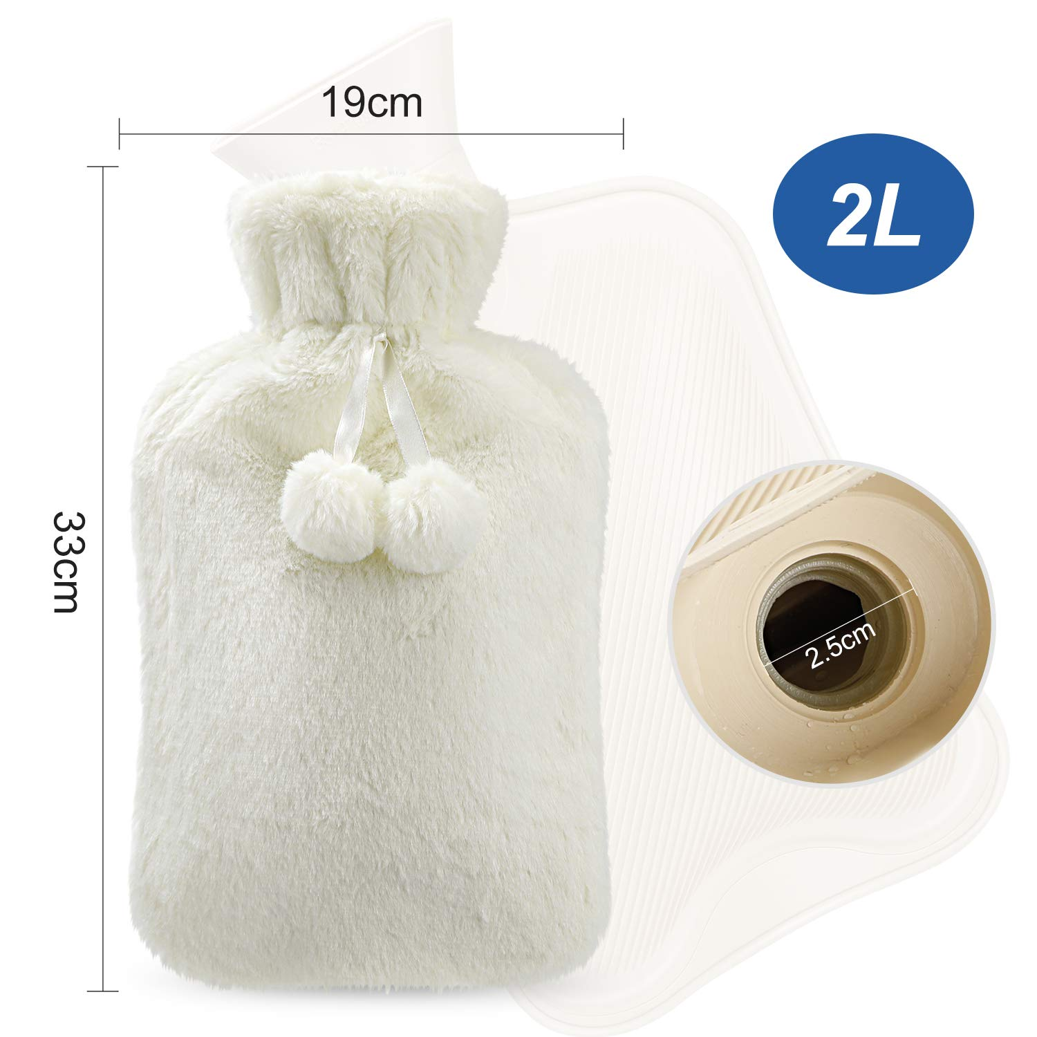 2 Litre Hot Water Bottle Valentines Day Heat Up and Refreezable Cold Pack Reusable Christmas Great Gift for Birthday with Cosy Fluffy Cover Portable