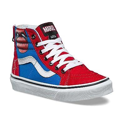 Vans X Marvel Boy s Sk8 HI Zip Spiderman Skate Shoe (6 Big Kid M US 75a823262