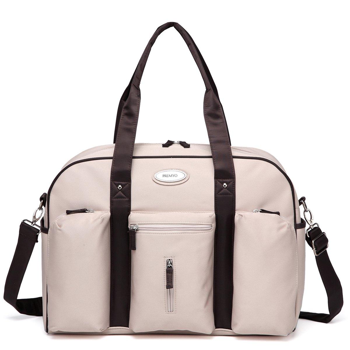 PREMYO Wickeltasche mit Wickelunterlage und Kinderwagenbefestigung in Beige. Elegante Wickeltasche mit Thermofach für unterwegs. Moderne Wickeltasche mit Reißverschluss und vielen Fächern