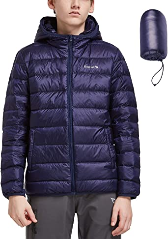Essentials boys Water-Resistant Packable Hooded Puffer Jacket