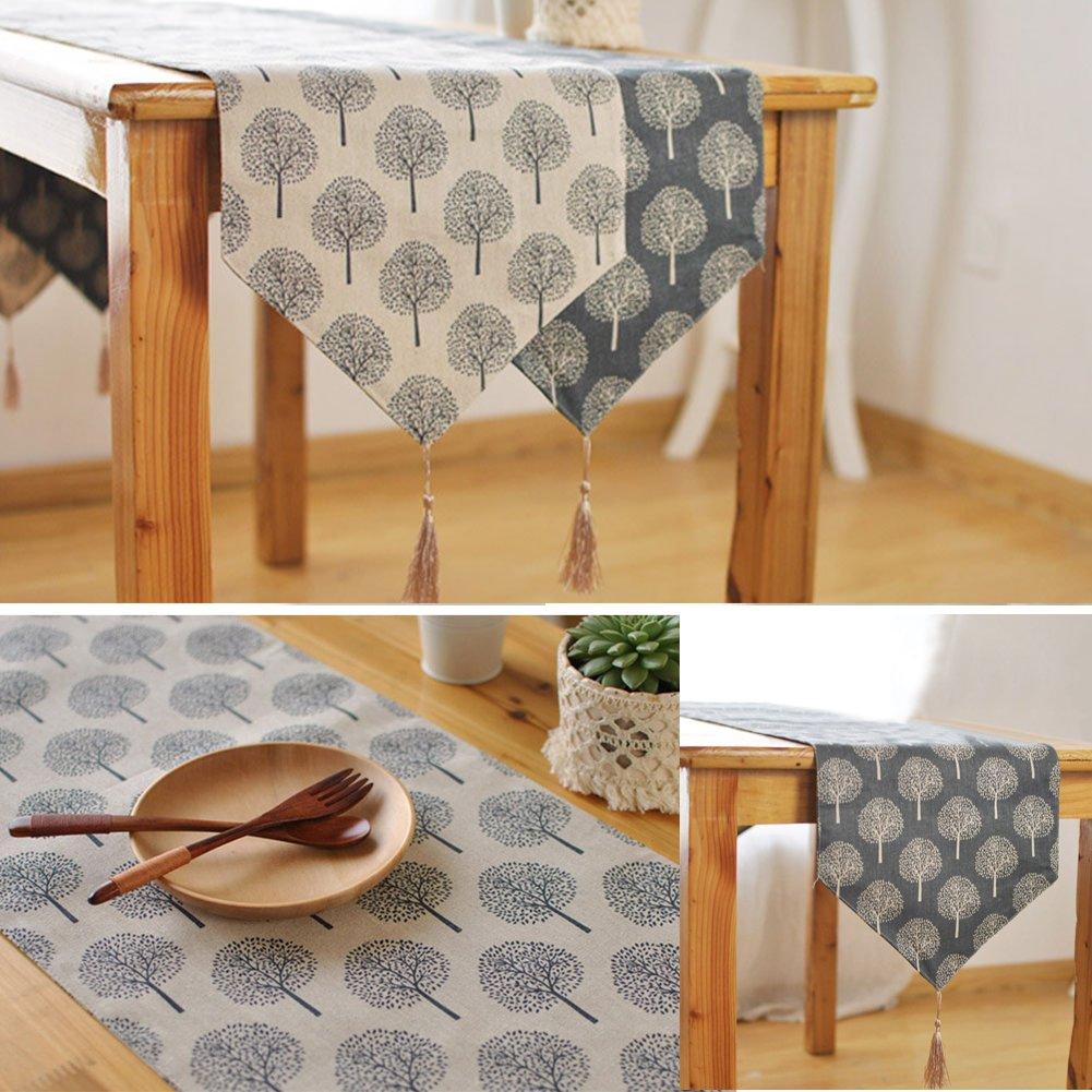 Moderno camino de mesa, bandas, decoración de mesa de boda, decoración de mesa con borlas, beige, 33*160 Tookie