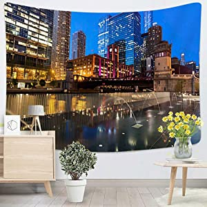 Weed Colorful Architecture of Chicago Along Chicago River at Night Chicago Illinois for Wall Aesthetic Tapestries Teen Magic Simple Decor Dorm Outdoor Boutique - 60