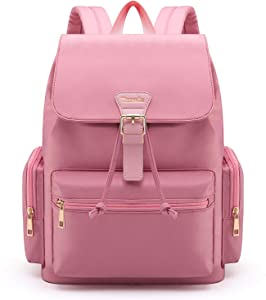 Tzowla Laptop Backpack College School Travel Business Book Doctor Shopping Bag Light Weight Casual Daypack for Women Men Girls Boys Student Fit 14 inch Compter Netbook-M3-Pink