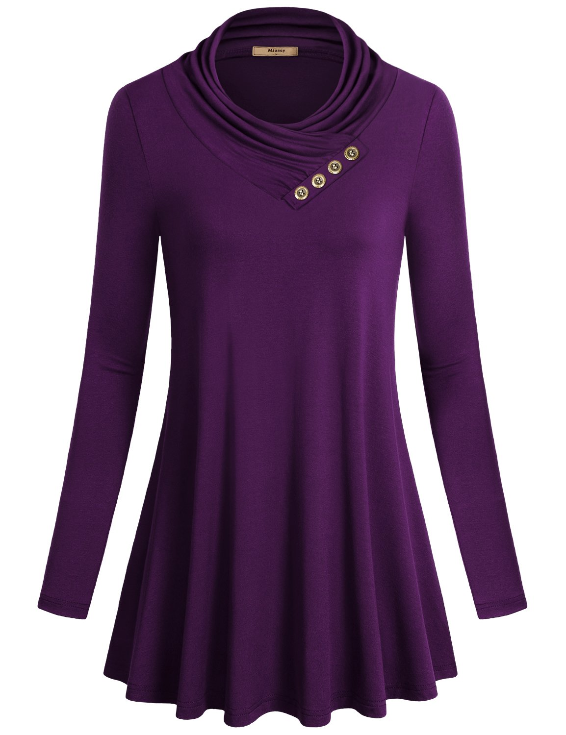 Miusey Tunics, Women's Long Sleeve Cowl Neck Comfy Loose Fit Swing Casual Top Purple Small