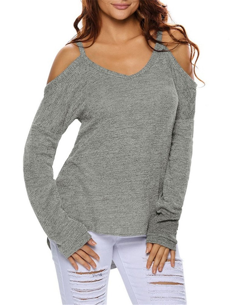 iNewbetter Womens V Neck Cut Out Cold Open Shoulder Long Sleeves Loose Knitted Sweater Top Blouse IN27624-Grey-XL
