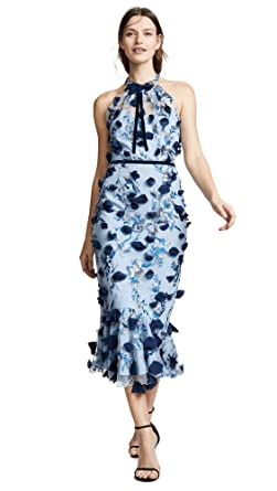 ff10b1d615f Marchesa Notte Women s Sleeveless Embroidered Halter Cocktail Dress ...