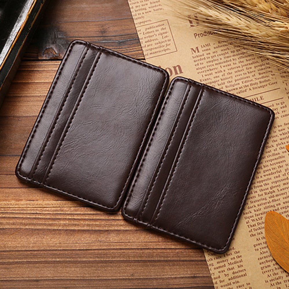 Cool Mens Faux Leather Money Clip Card Holder Slim Bifold Magic Wallet Brown