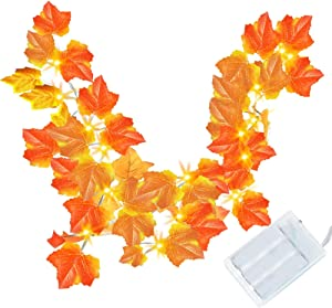 FUNPENY Thanksgiving Maple Leaf Garland with Lights, Thanksgiving Decorations Light, Maple Leaves Garland String Lights 9.8 feet 20 LED, Thanksgiving Gift