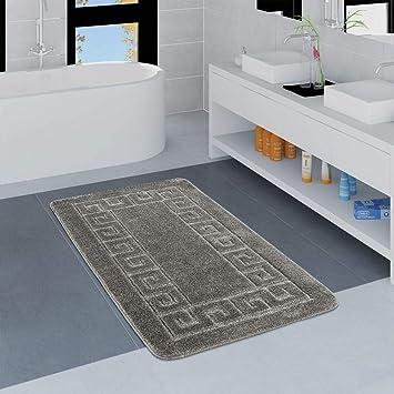 Paco Home Moderner Badezimmer Teppich Bordüre Badvorleger Rutschfest  Badematte In Grau, Grösse:50x80 cm