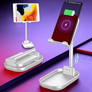 2 in 1 Portable Wireless Phone Charger and Tablet/Phone Stand, Height/Angle Adjustable Universal Stand,Cradle,Compatible with iPhone, Any QI Enabled Smartphone,Samsung Etc (White)