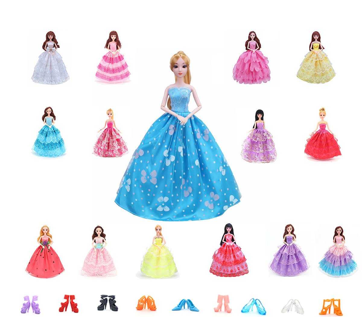 high-quality 5x Barbie Doll Dress Clothes Set Party Gown Outfits ...