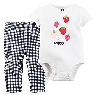 Carter's Baby Girls 2-Piece Bodysuit & Pant Set So Happy White 3M