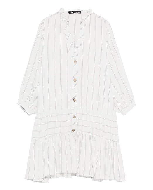 ec850c3c8fed Zara Women Frilled Striped Dress 9878/061 Pink at Amazon Women's ...