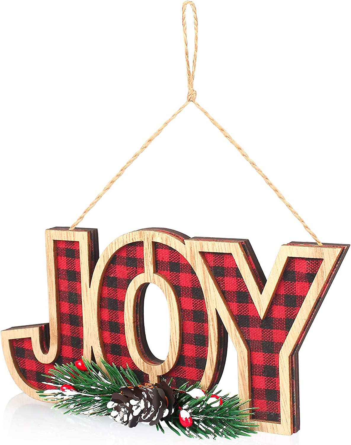 WizPower Christmas Joy Sign Ornament, Wooden Christmas Plaid Decoration Red Black Xmas Décor for Door Wall Home Kitchen Tree