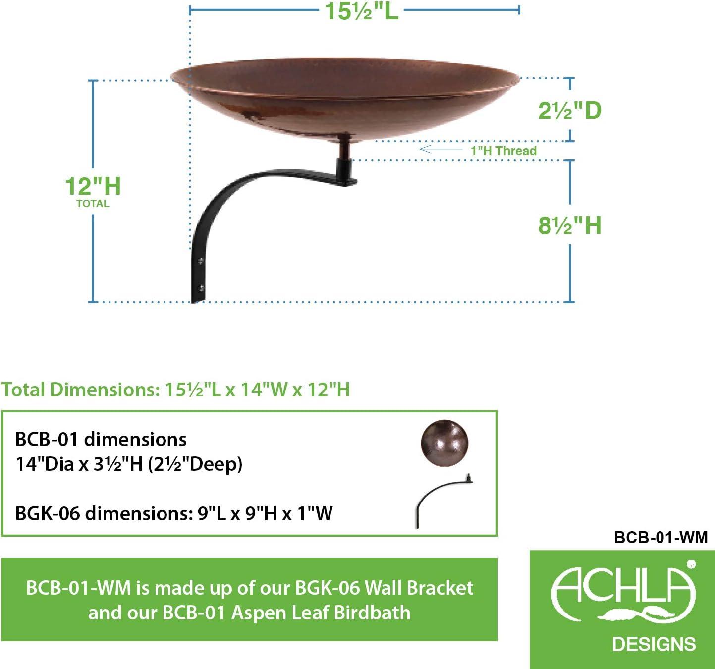 Achla Designs BCB-01-WM Wall Mount Bracket Birdbath Burnt Copper Black