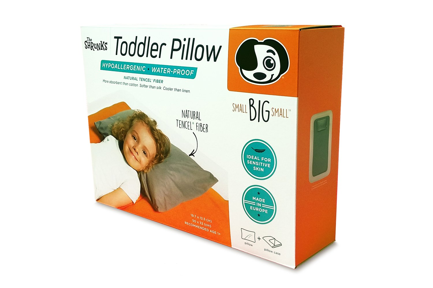 The Shrunks Natural Fibre - Water-proof Toddler Pillow and Cover, Grey by The Shrunks (Image #3)