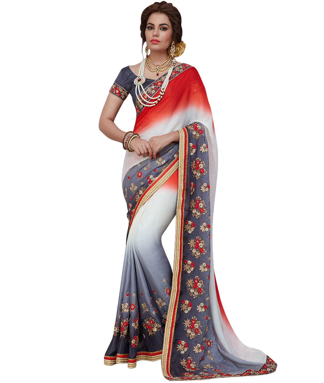 Indian Ethnic Satin Chiffon Red, White & Grey Fancy Saree