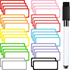 36 Pieces Magnetic Dry Erase Labels 1.2 x 3.2 Inch Name Plates Labels Sticky White Board Labels 10 Colors and Black Magnetic Dry Erase Markers for Whiteboards Refrigerator and Crafts