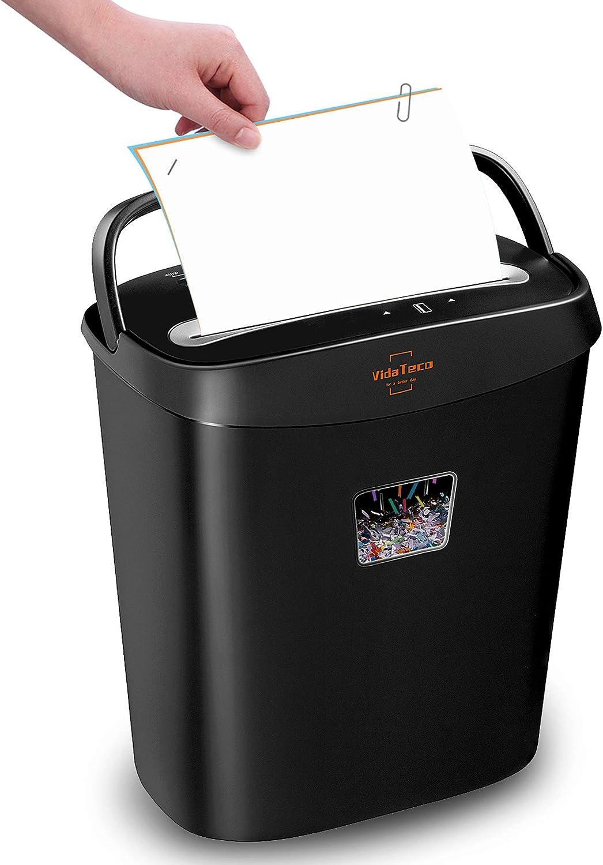 Paper Shredder,VidaTeco 8-Sheet Cross-Cut Shredder with US Patented Cutter,Also Shreds Card/Staple/Clip,Paper Shredder for Home Office,Durable&Fast with Jam Proof System,3.9-Gallon Basket (ETL)