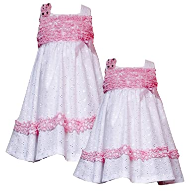 2e3c3fa9aeb Rare Editions GIRLS 2T-6X WHITE PINK RUFFLE TRIM EMBROIDERED EYELET Special  Occasion Wedding Flower Girl Easter Party Dress