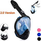 Qwer Full Face Snorkel Mask,New Foldable Snorkeling Mask with Detachable Camera Mount Pivot Arm and Earplug, 180° Large View Easy Breath Dry Top Set Anti-fog for Adults Youth