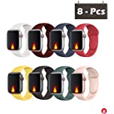 ORIbox Compatible for Apple Watch Band 38mm 40mm, Soft Silicone Sport Wristband for iWatch Series 5/4/3/2/1, Sport, Nike+, Edition, S/M,8 Packs Colorful (Wristband 38MM/40MM S/M)