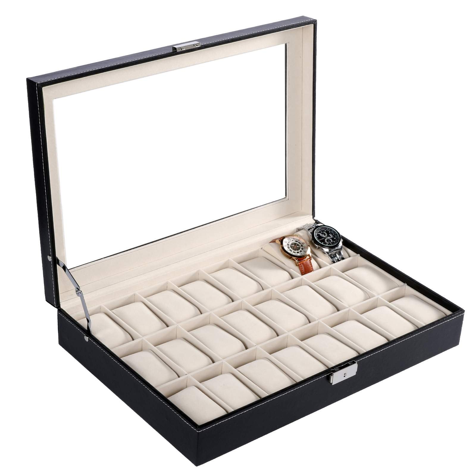 Homdox Watch Case Glass Top PU Leather Display Storage Box Chest Holds 24 Watches
