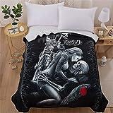 WONGS BEDDING Skull Bed Blanket 3D Beauty Ride or Die Printed Flannel Blanket Soft Lightweight Reversible Throw Fleece Blanke