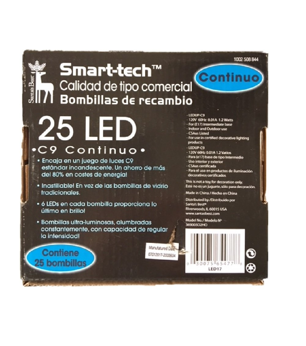 Smart-tech Commercial-grade C9 LED Bulbs - 25 Count (Green) - - Amazon.com