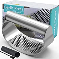 Garlic Press Rocker, Stainless Steel Garlic Crusher Garlic Mincer Presses and Ginger Press Squeezer with Silicone Tube…