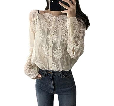Sdheijky Button Lace Slash Neck Long Sleeve Women Spring Plus Size