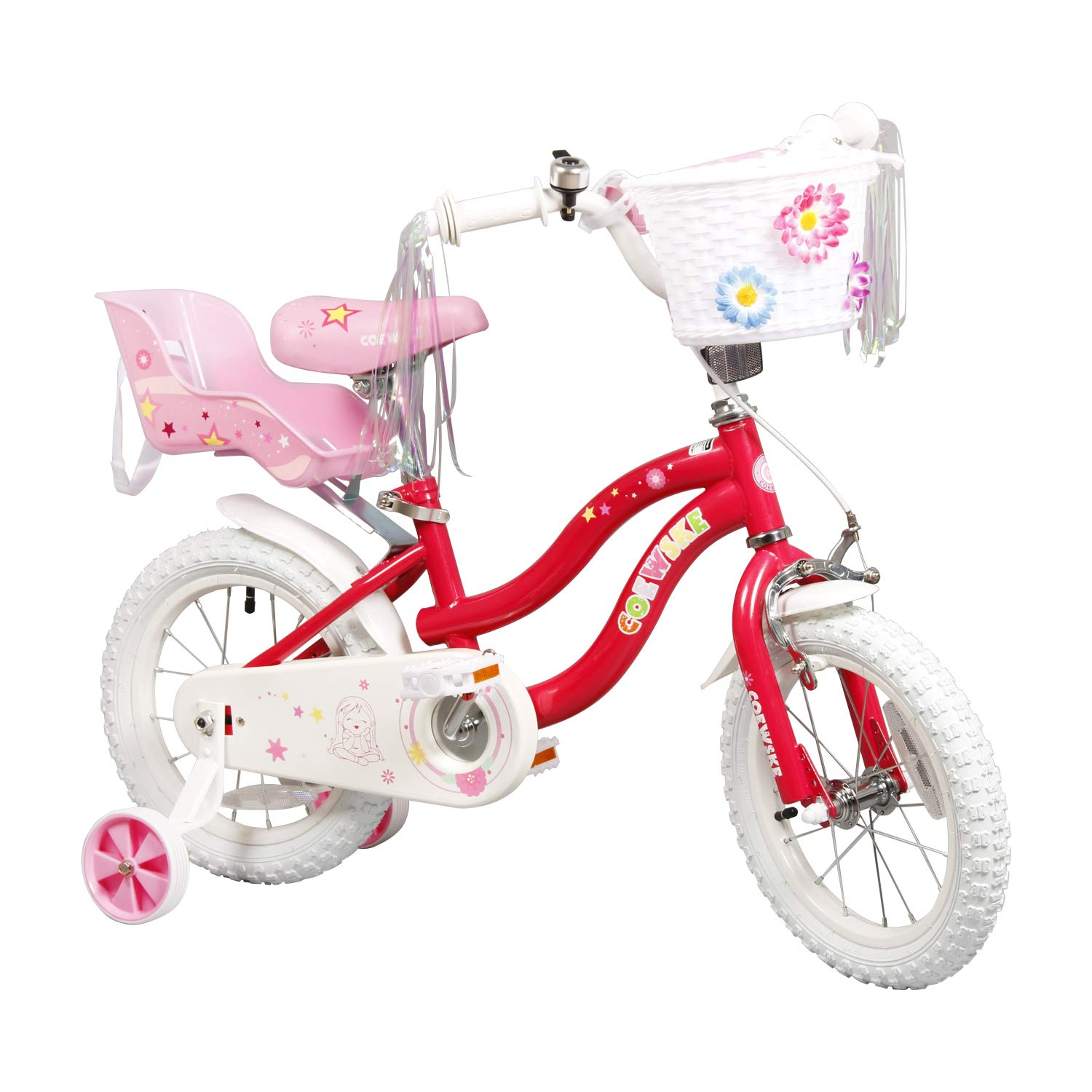 COEWSKE Kid's Bike Steel Frame Children Bicycle Little Princess Style 14-16 Inch with Training Wheel (Red, 16 Inch)