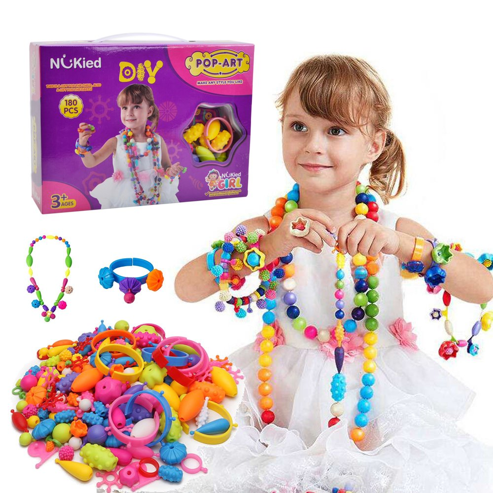 Snap Pop Beads Girls Toy - Happytime 180 Pieces DIY Jewelry Kit Fashion Fun for Necklace Ring Bracelet Art Crafts Gifts Toys for 3, 4, 5, 6, 7 ,8 Year Old Kids Girls BABY ART PARK